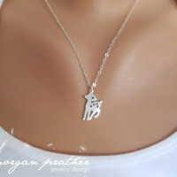 Deer Necklace  White Grey Cute Deer Charm Pendant by morganprather