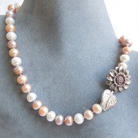 Pastel Pearl Necklace with Sunflower Clasp