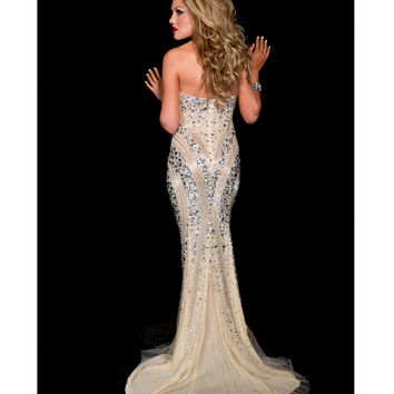 Jasz Couture 2013 Prom - Strapless Nude & Silver Sexy Rhinestoned Prom Gown - Unique Vintage - Prom dresses, retro dresses, retro swimsuits.