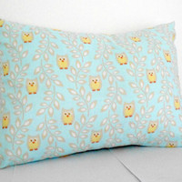 Blue Nursery Pillow Cover owl babys room decor 12 X 16 inches