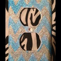 Glitter Chevron Outlet or Light Switch Cover