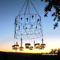 Cottage Garden Mason Jar Chandelier Shabby Chic Wedding Lighting Vintage Garden Ball Jar Candle Lanterns Upcycled Keys Recycled Garden Fence