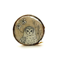 white geometric owl wooden brooch hand painted brooch by iamabird