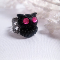 Hogwarts Pink Violet Owl Ring  Filigree  by FashionCrashJewelry