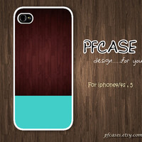 Dark wood with blue Pattern : Handmade Case for Iphone 4/4s , Iphone 5 Case Iphone