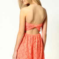 Helen Bow Back Lace Sleeveless Skater Dress