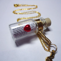Love Song in a Bottle necklace Just Like Heaven by by BelladeJour