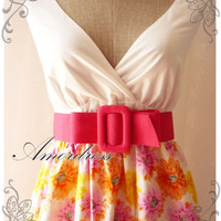 Floral Goddess- Summer Floral Two Tone Dress Yellow Pink Flower Sweet Dress Cotton Summer Dress Party Colorful Everyday Dress-S-M-