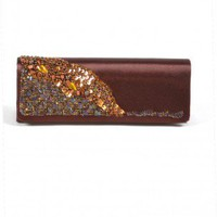 Brown Sateen Clutch | Indie Retro Vintage Inspired Clutches| Poetrie