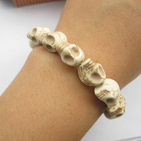 3D creamywhite rammel skull bracelet by lightenme on Etsy