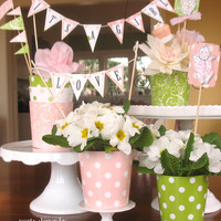 Baby Girl Shower Birthday Centerpieces and Party Decorations by cathyswraps