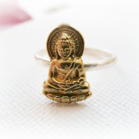 Little Buddha ring gold silver metalwork  Solid by FoxInTheBox