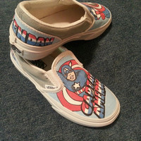Handpainted Captain America on Vans shoes by ThePaintedChild