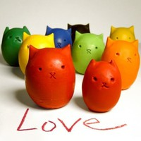 Kitty Egg Molded Crayons Set of 6 Custom Colors by kittybblove