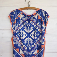 Electric blue Tunic top ethnic style, tshirt tribal printed design, reversible side, short batwing sleeves
