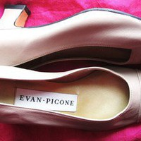 EVAN PICONE SHOES BEIGE CLASSY LEATHER HEELS !S 5,5/35,5 M MADE IN SPAIN