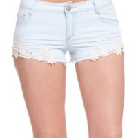 2B Denim Crochet Short: Clothing