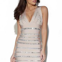 Starry CRYSTAL EMBELLISHED BANDAGE DRESS