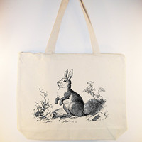 Vintage Bunny Rabbit illustration on Canvas Bag with by Whimsybags