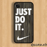 IPHONE 5 CASE NIKE Just do it wood colored  darkwood Wooden iPhone 4 case iPhone 4S case iPhone case Hard Plastic Case Soft Rubber Case
