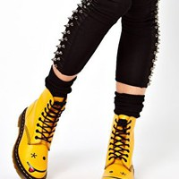 Dr Martens Hincky Acid Yellow Smiley 8 Eye Boots at asos.com