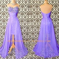 Fascinating purple A-line Sweetheart Asymmetrical Prom Dress