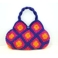 Knitted Crochet bag in fuscia, orange, purple colours for Spring