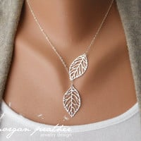 SALE - Leaf Lariat - silver grey white dainty leaf pendants - sterling silver chain - morganprather