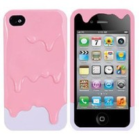 Melt Melting Ice Cream Detachable Hard Protective Back Case Cover Set for iPhone 4S/iPhone 4 pink(bottom colors May Vary)+Gift 1pcs Insect Mosquito Repellent Wrist Bands bracelet: Cell Phones & Accessories