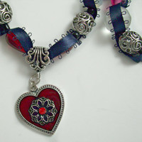 Matching red and white bead and navy ribbon necklace and bracelet. Red heart pendant necklace.  Beaded ribbon jewelry.
