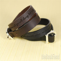 Your favorite quote --- custom engraved leather buckle bracelet THE TWAIN