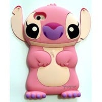 Pink Disney 3d Stitch Movable Ear Flip Hard Case Cover for Iphone 4/4s + 1 Screen Protector: Everything Else