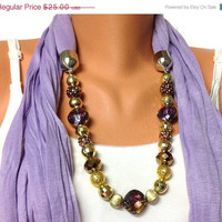 ON SALE lilac jewelry scarf - lilac color scarf with crystal and acyrlic beads, high fashion unique scarf, gift or for you NEW Season