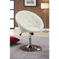 Coaster 102583 Round-Back Swivel Chair, White: Home & Kitchen