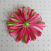 Lime green and hot pink flower hair clip Great by CherishedJewels