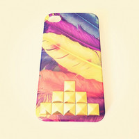 Feathers Hipster iPhone 4S 4 Hard Case with by LivingYoungDesigns