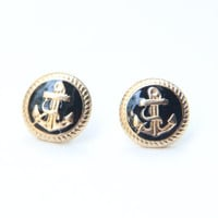 Black and Gold Anchor Studs  Golden Anchor Earrings by Brinkle