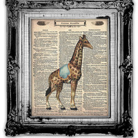 Upcycled Vintage Dictionary Book Page Art Circus Giraffe by FoxHunterStudios