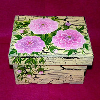 Decorative Wood Wedding Card Box Wedding Keepsake Box, Wooden Box Peony Wedding Gift Card Box Personalized Custom Painting Crackle