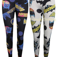 Ladies Womens Batman Leggings Graphic Comic Book Original Bat Signal Dress Top