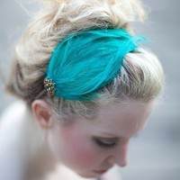 ISADORA  Handmade Aqua Green Feather Fashion by bethanylorelle