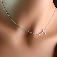 All Sterling Sideways Cross Necklace minimalist by Beautiful2u