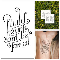 Wild Hearts  temporary tattoo Set of 2 by Tattify on Etsy