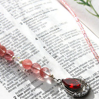 January Birthday, Red Garnet Beaded Bookmark, Exquisite Gemstones, Brazilian Marquise Cut Garnet, White Gold Setting, Rose Quartz Beads tag