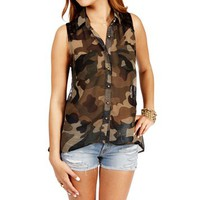 Olive Camouflage Lace Top