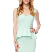 Open Hearted Peplum Dress in Mint :: tobi