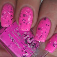 "Nail polish - ""Flurocious"" black and white glitter in a hot pink base - new 12ml bottle"