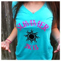 Women Teen Girl Deep V Neck Summer 2013 2K13 Sunburst Shirt Aqua Teal