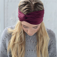 Turband Headband - Stretchy Cranberry Plum Workout Headband Hair Band for Women