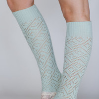 Girly Button Leg Warmers in Mint Green HOMESPUN Summer Knit Leg Warmers with Lace